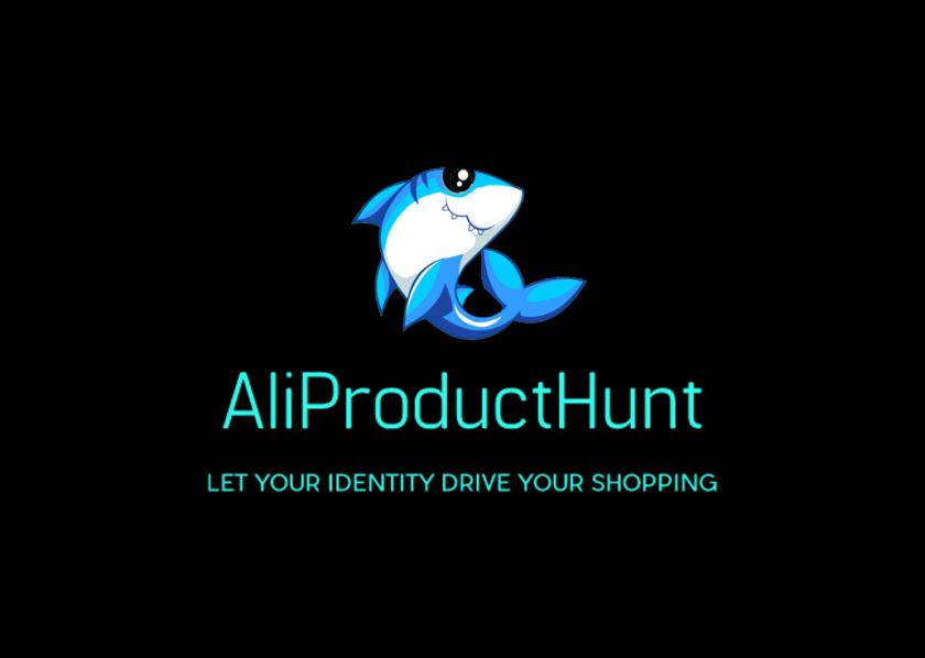 Black logo with shark and caption